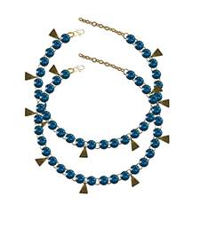 Dark Firozy Stone Stud-Gold Platted Brass Anklet