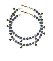 Light Firozy Stone Stud-Gold Platted Brass Anklet
