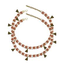 Pitch Stone Stud-Gold Platted Brass Anklet