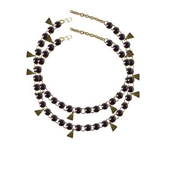Dark Purple Stone Stud-Gold Platted Brass Anklet