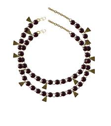 Maroon Stone Stud-Gold Platted Brass Anklet