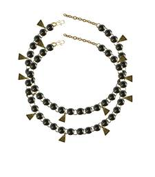 Grey Stone Stud-Gold Platted Brass Anklet