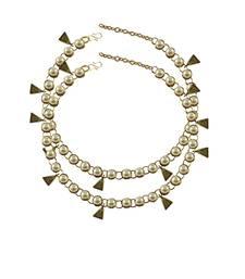 Cream Moti Stud-Gold Platted Brass Anklet