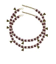 Light Purple Stone Stud-Gold Platted Brass Anklet