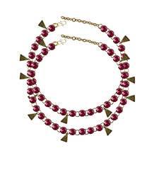 Rani Stone Stud-Gold Platted Brass Anklet