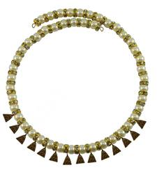 Cream Stone Stud-Gold Platted Brass Necklace