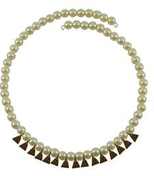 Cream Moti Stud-Gold Platted Brass Necklace