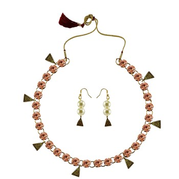 Pitch Stone Stud-Gold Platted Brass Necklace