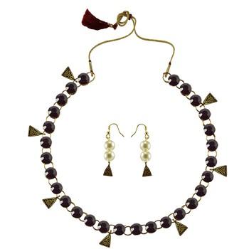 Dark Purple Stone Stud-Gold Platted Brass Necklace