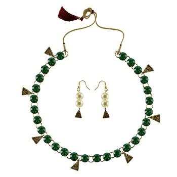 Dark Green Stone Stud-Gold Platted Brass Necklace