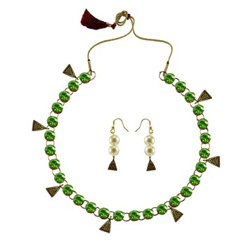 Light Green Stone Stud-Gold Platted Brass Necklace