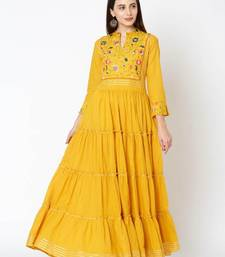 Yellow Colored Embroidery Worked Soft Cotton Kurti
