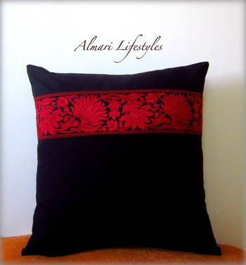 Floral Lace Cushion Cover in Black