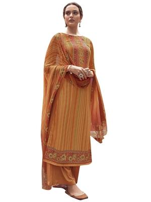 Orange digital print pashmina salwar
