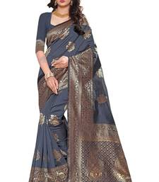 Grey woven silk saree with blouse