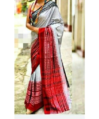 White Hand Weaving Work Pure Cotton Temple Design Handloom saree With blouse