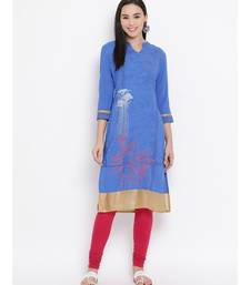 Women  Blue Crepe Printed Straight Kurta