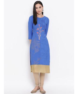 Women  Blue Crepe Printed Straight Kurta