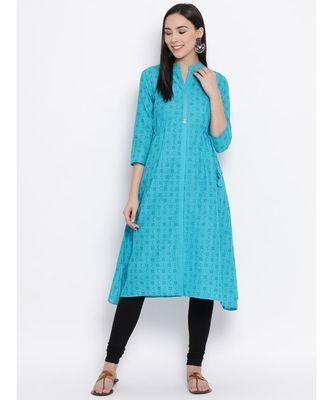 Women  Blue Cotton Printed A-line Kurta