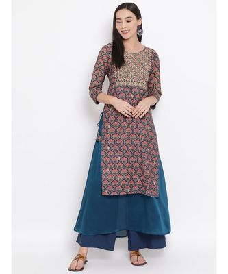 Women  Blue Cotton Embroidered Anarkali Kurta