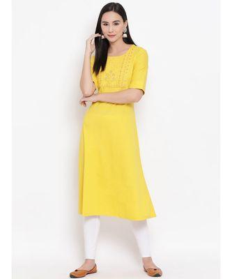 Women  Yellow Cotton Embroidered A-line Kurta