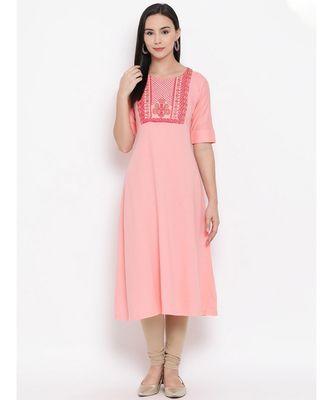 Women  Pink Cotton Embroidered A-line Kurta