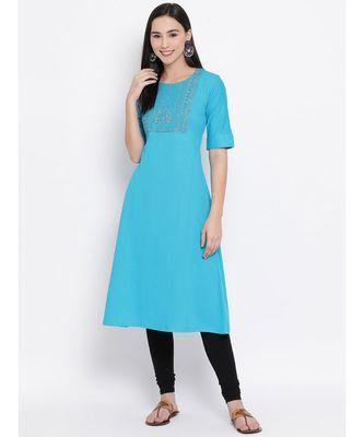 Women  blue Cotton Embroidered A-line Kurta