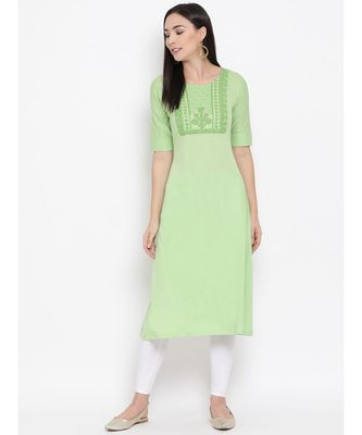 Women  green Cotton Embroidered Anarkali Kurta