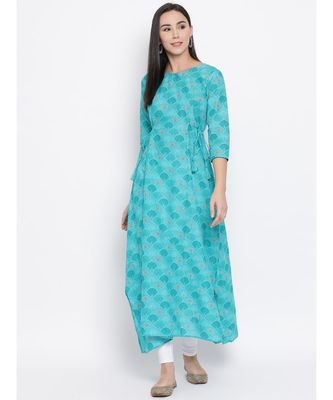 Women  green Cotton Printed A-line Kurta