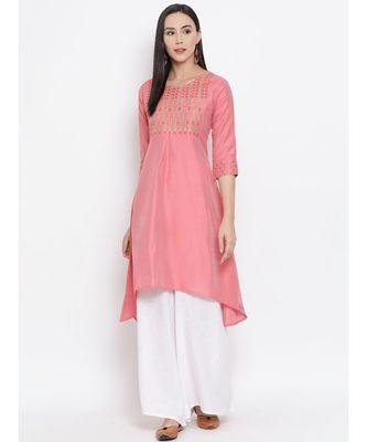 Women  Pink Cotton Silk Embroidered A-line Kurta