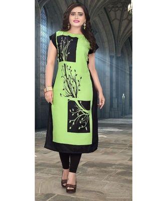 green printed crepe kurti