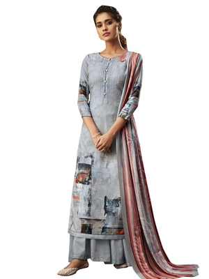 Grey digital print pashmina salwar
