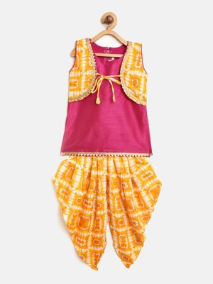 Yellow Attached Jacket Kurti Dhoti For Baby Girls