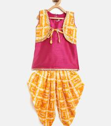 Yellow Attached Jacket Kurti Dhoti For Baby Girls