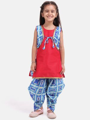 Blue Attached Jacket Kurti Dhoti For Baby Girls