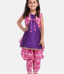 Pink Attached Jacket Kurti Dhoti For Baby Girls