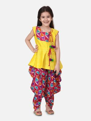 Yellow Triangle Print Patch Peplum dhoti For Girls