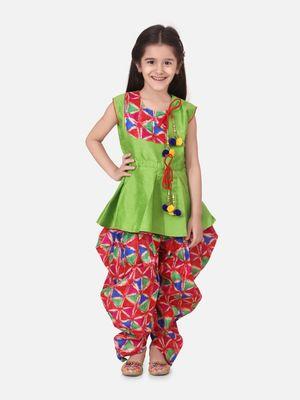 Green Triangle Print Patch Peplum dhoti For Girls