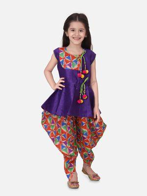 Purple Triangle Print Patch Peplum dhoti For Girls