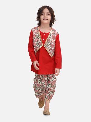 Red Block Print Jaipuri Cotton Dhoti Kurta