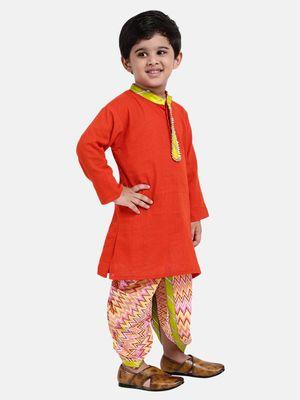 red Jaipuri Print Cambric Cotton Dhoti Kurta