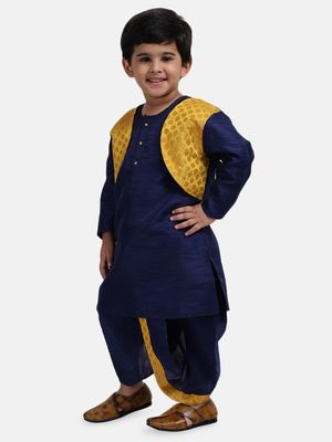Navy Blue Attached Jacket Jacquard Dhoti Kurta For Baby Boys