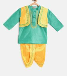 Green Attached Jacket Kurta Dhoti For Baby Boy