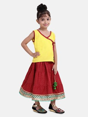 Yellow Sanganeri Print Cambric cotton Skirt Top
