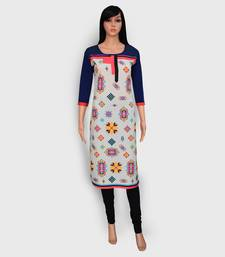Off white printed crepe kurtas-and-kurtis