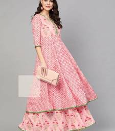 Pink Colored Gotta Patti Worked Printed Kurti