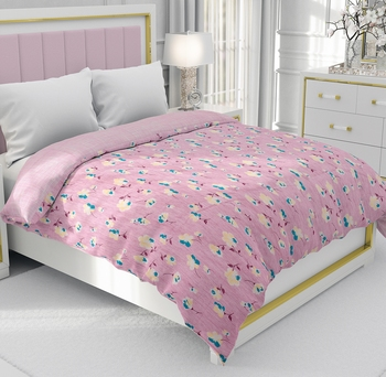 Pink Be Wangle Floral Printed Reversible Double Bed Dohar AC Blanket