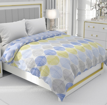 Blue Be Wangle Leaves Printed Reversible Single Bed Dohar AC Blanket