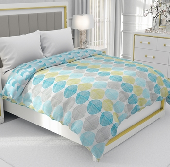 Cyan Blue Be Wangle Leaves Printed Reversible Single Bed Dohar AC Blanket