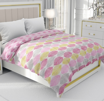 Pink Be Wangle Leaves Printed Reversible Single Bed Dohar AC Blanket